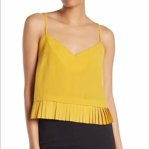French Connection   Solid Crepe Pleated Tank/Cami